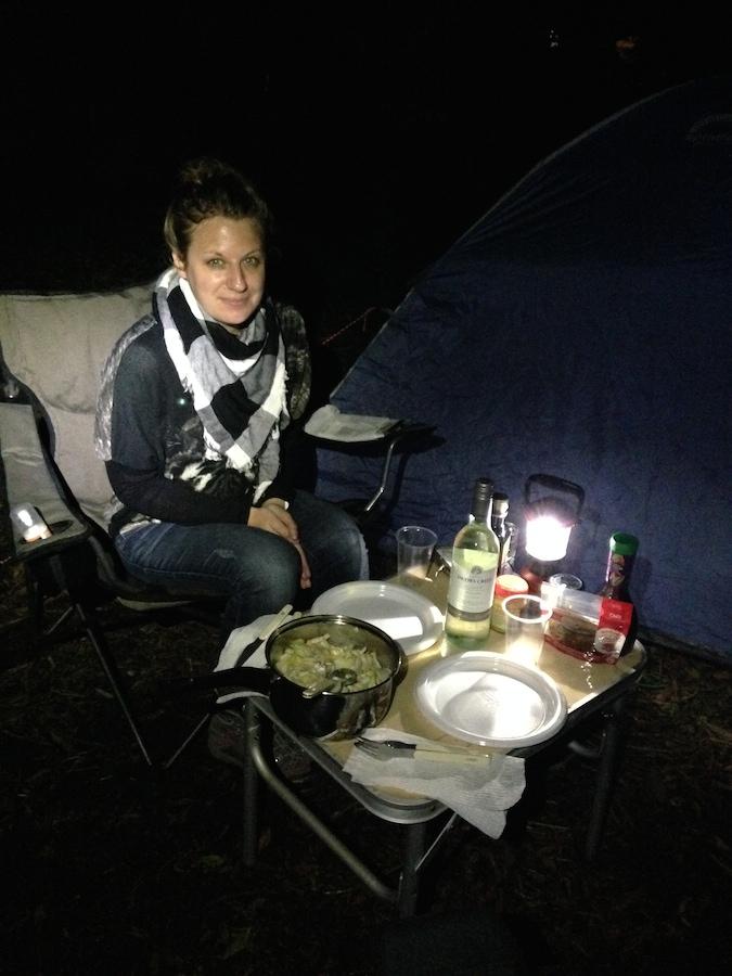 Salade d'endives au bleu et noix en camping